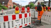 Baustelle Dorffelder Straße geflutet